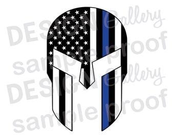 American Flag Gladiator - JPG SVG DXF - Thin Blue Line Mask Skull Helmet Law Enforcement Police Sheriff Printable Digital Iron On
