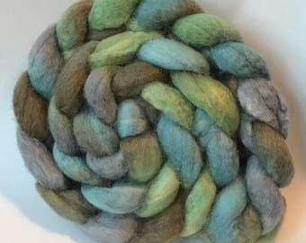Blue faced leicester silk spinning top Calm, roving, BFL