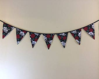Banner Roses and Skulls Fabric