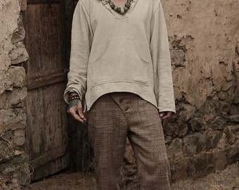 Handwoven Wool Men Straight Pants ~ Brown