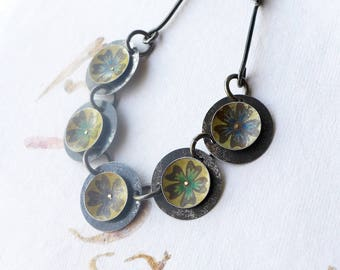 Flowered Vintage Tin Disc Necklace, Blues and Greens, Industrial Look, Handmade Steel Chain, 10th Anniversary