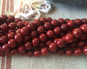 8mm Cranberry Magnesite Turquoise Bronze Infused