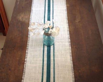 Burlap Table Runner Rustic Deep Aqua Striped 10-14 x 48,60 or 72 Urban Farmhouse Decor