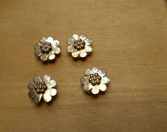 Brass Flower Connectors 4 pcs