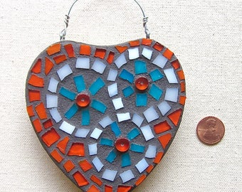 Heart, Love, Orange, Aqua, Ornament, Wall Hanging, Wedding, Nursery, Gift, Home Decor, Original Art, Mosaic