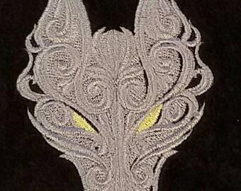 SALE!!!!! Embroidered Grey Wolf Bathroom Hand Towel