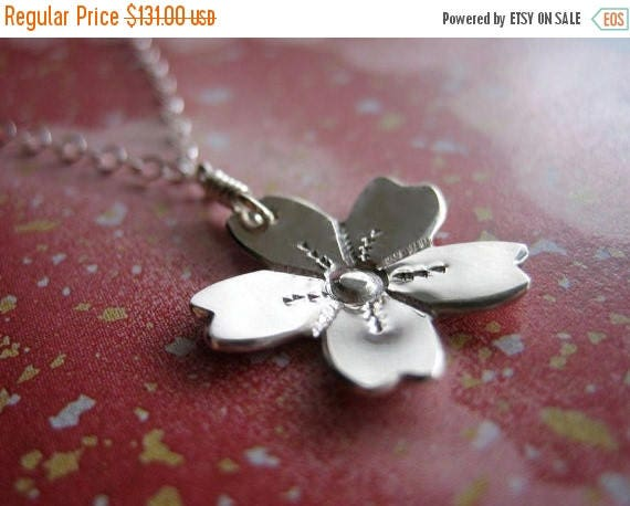 SALE Cherry Blossom Sterling Silver Necklace