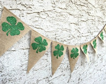 St Patricks Day Banner, Shamrock Banner, St. Patrick's Day, Four Leaf Clover, St Patricks Day Decoration, St Patricks Day Decor, Lucky Irish