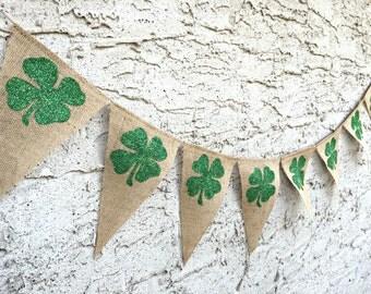 St Patricks Day Banner, QUICK SHIP, Shamrock Banner, St. Patrick's Day, Four Leaf Clover, St Patricks Day Decoration, St Patricks Day Decor