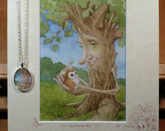 The Healing Tree limited edition signed, numbered, matted and remarqued print with pendant necklace
