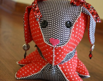 Decorated Stuffed Dog in Black, Red, and Heart Fabric with Silver Beaded Trim