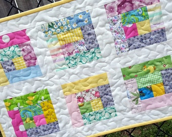 Easter Table Runner, Quilted Patchwork in Bright Spring Colors, Perfect for Easter Table Decor
