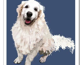 Golden Retriever Dog Illustration-Pop Art Print