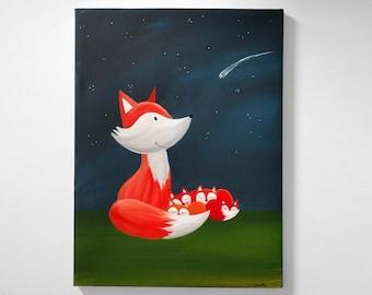 Mama Fox and Pups Original Canvas Painting