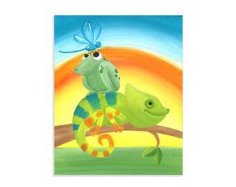 Chameleon Sunrise - Lizard, Frog, Dragonfly Jungle Art