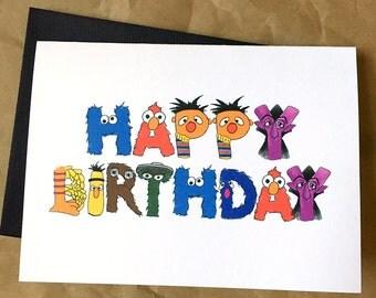 Sesame Street inspired Birthday Card - Blank Inside