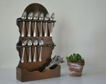 Vintage Spoon Rack, Spoon Display, Storage, Jewelry Holder, Wall Decor