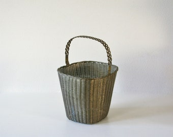 Vintage Metal Woven Basket, Heavy Duty, Storage, Planter Holder