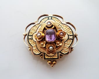Antique Victorian 10K Rose Yellow Gold Black Enamel Pearl Brooch Pendant Mourning Jewelry 5.8 Grams