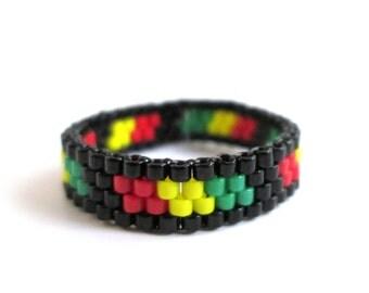 Skinny Jamaican Bead Ring, Beaded Rasta Ring, Reggae Ethnic Rastafari Boho Tribal Ring for Men or Women