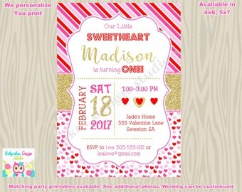 Valentine Birthday Invitation Invite 1st birthday valentine's day party invitation 2nd birthday sweetheart dance party printable