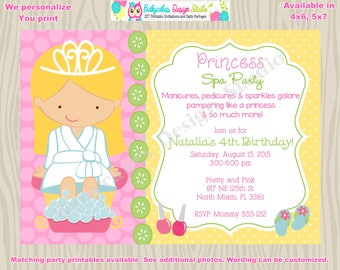Princess Spa Party Invitation Invite SPa Day Spa Birthday Spa Invitation invte spa birthday party matching printables - CHOOSE YOUR GIRL