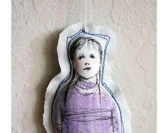 art doll  fabric textile soft girl original drawing figure home decoration wall decor hand painted OOAK