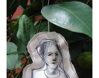 Art doll boy ornament christmas fabric textile soft original drawing figure home decoration wall decor hand painted OOAK
