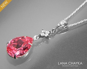 Pink Crystal Necklace Rose Pink Teardrop Sterling Silver Necklace Swarovski Pink Rhinestone CZ Necklace Bridal Pink Jewelry Wedding Jewelry