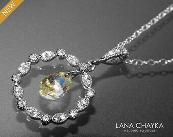 CZ Bridal Necklace Swarovski Aurora Borealis Crystal Silver Necklace Wedding Necklace Prom Necklace Circle Cubic Zirconia Necklace