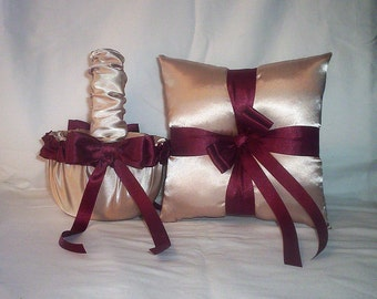 Champagne Satin With Burgundy Trim Flower Girl Basket And Ring Bearer Pillow Set 2