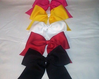 5 Cheer Bows Handmade in the U.S.A.  Custom Orders Available. 11 ribbon colors to choose from. NEW colors being added soon.