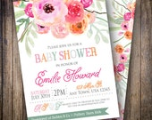 Watercolor Baby Shower Invitation, Baby Girl, Floral Baby Shower Invite, Printable Baby Shower Invite - Watercolor Flowers in Pink, Orange