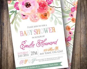 Watercolor Baby Shower Invitation, Baby Girl, Floral Baby Shower, Printable Baby Shower Invite, Watercolor Flowers, Greenery, Pink, Orange
