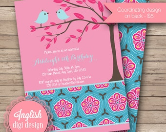 Printable Tree Birds Birthday Party Invitation, Girl Birthday Party Invitations - Birds in Flowering Tree ink Pink and Blue