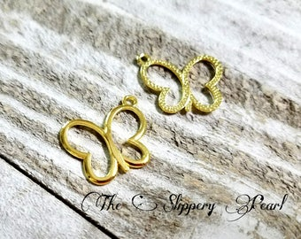 Butterfly Charms Gold Butterfly Pendants Gold Charms Gold Pendants Insect Charms Nature Charms Open Butterfly Charm