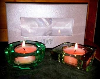 Green glass tealight or  votive holders