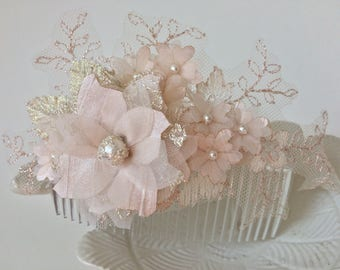 Gold and blush hair comb, blush flowers, lace hair comb, lace and flower comb - *Nancy*
