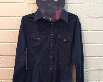 Vintage Black Cowboy Shirt with Amber Buttons