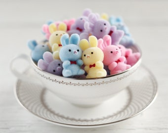 Miniature Flocked Plastic Bunnies - One Dozen Adorable Fuzzy Easter Bunny Craft Figurines