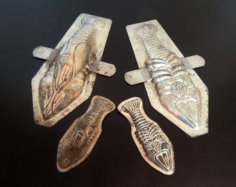 A Pair of Mommy and Baby Vintage French Chocolate Lobster Moulds!   How Strange How Wonderful