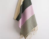 SALE 50 OFF/ BathStyle / Lilac-Black / Turkish Beach Bath Towel / Wedding Gift, Spa, Swim, Pool Towels and Pareo