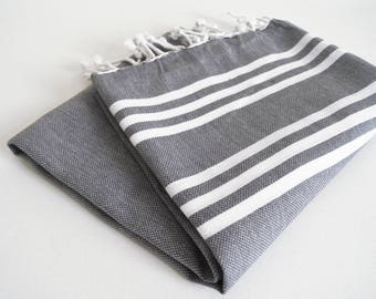 SALE 50 OFF/ Turkish Beach Bath Towel / Classic Peshtemal / Gray / Wedding Gift, Spa, Swim, Pool Towels and Pareo