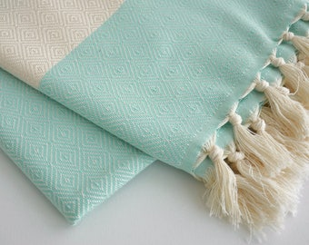 NEW / SALE 50 OFF/ BathStyle / Mint Green / Diamond Style Turkish Beach Bath Towel Peshtemal / Bath, Beach, Spa, Swim, Pool Towels