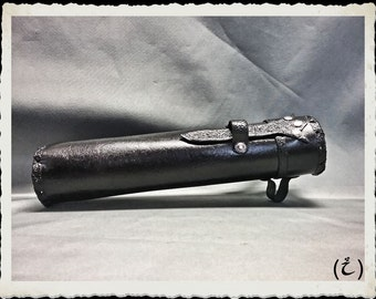 Black Leather Scroll Case / Holster