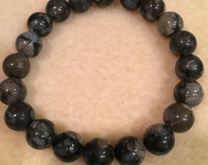 Que Sera Llanite 10mm Stretch Bead Bracelet with Sterling Silver Accent