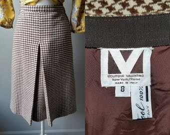 Vintage 60's VALENTINO Boutique Wool Houndstooth Midi Skirt Size 8 Small Chocolate Brown Italy Vintage Valentino Collector Hounds Tooth