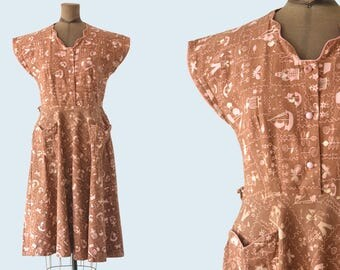 1940s Brown and Pink Cotton Dress size M