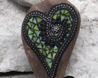 Lime Green Leaf Heart, Garden Stone, Mosaic, Garden Decor