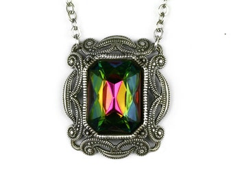 Mystic Topaz Rainbow Vitrail Octagon Necklace